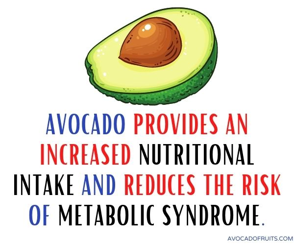 Avocado provides an increased nutritional intake and reduces the risk of metabolic syndrome
